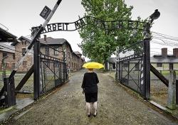 Katzman Keynote Auschwitz Yellow Unbrella